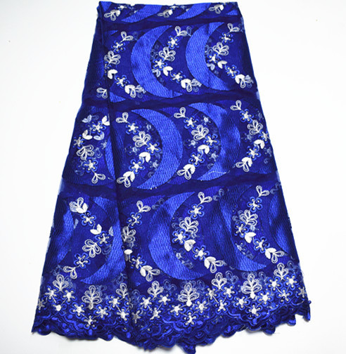New Blue African Lace Fabric With Bead Nigerian Lace Fabrics 2017 High Quality French Tulle Stone