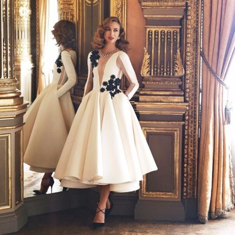 Vestidos De Festa Long Sleeve Prom Gown Appliques A Line Formal Wedding Party Dress