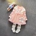 Nuevo 2017 Bebés del Vestido Del Tutú de Impresión Arco de Manga Larga Soild Encaje Princesa Dress Casual Otoño Primavera Recién Nacido Niñas Tutu vestido