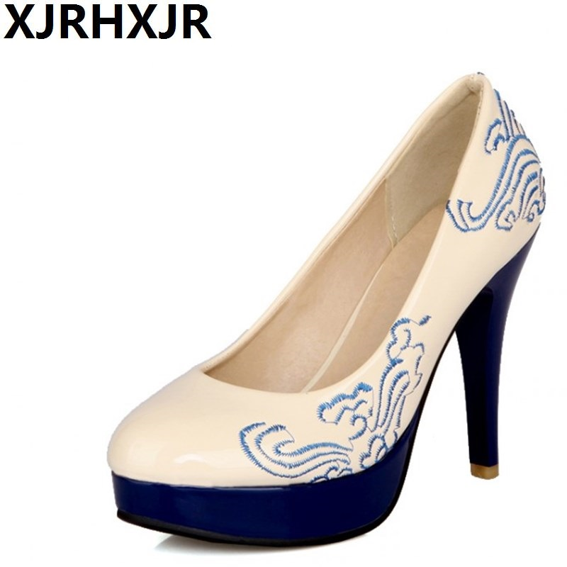 XJRHXJR Black Red Blue Beige Thin High Heel Platform Round Toe Shoes Woman 2018 New Women Pumps Summer Sexy Fashion Party Shoes new 2018 high heel shoes woman sandals rhinestone platform pumps high heeled 20cm summer women pumps fashion party prom shoes