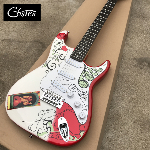 New high quality custom ST electric guitar, Rosewood fingerboard, red water transfer printing ST electric guitar, free shipping