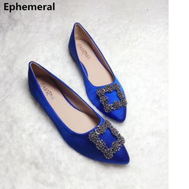 Ladies Cheap Flats Silk Stain Pointed Toe Diamond Slip-on Soft Dancing Shoes Spring Breathable Mujer Plus Size 33-45 Royal Blue
