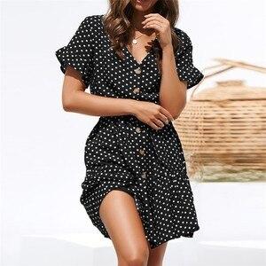 Image 2 - Шифоновое летнее платье в горошек, Пляжное Платье Бохо, винтажные Сексуальные вечерние платья с коротким рукавом, мини сарафан размера плюс