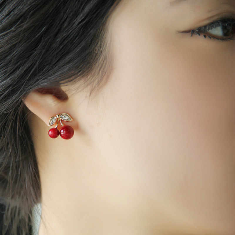2018 New Korean Version Of The Anti-allergic Earrings Fashion Jewelry Personality Wild Red Cherry Stud Earrings For Women Gift