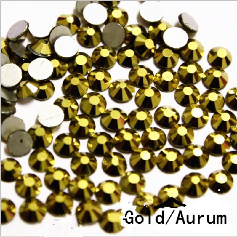Super Shiny SS3-SS34 Crystal Glitter Non Hotfix Aurum / Gold Color 3D Nail Art Decorations Flatback Rhinestones Strass Stones super shiny 1440pcs ss8 2 3 2 4mm clear ab glitter non hotfix crystal ab color 3d nail art decorations flatback rhinestones 8ss