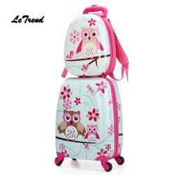 Letrend мультфильм милые животные Дети Сумки на колёсиках набор Spinner детей чемоданы колеса тележка дорожная сумка студент Carry On Trunk