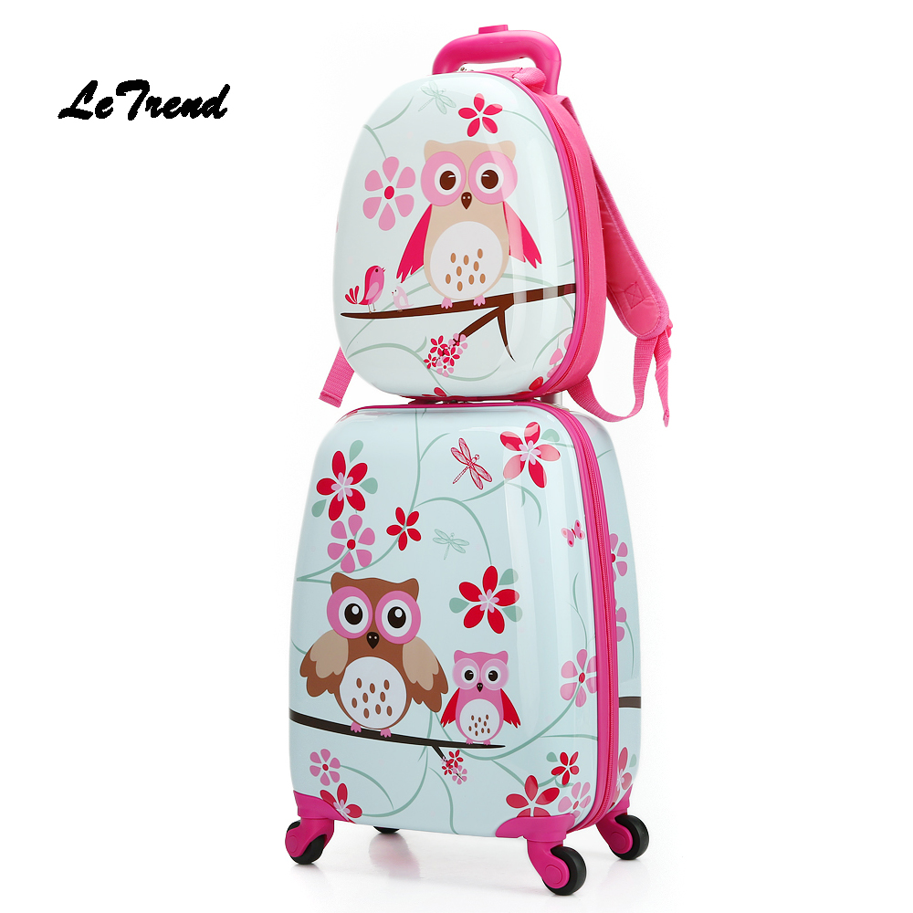 Letrend  Cartoon Cute Animal Kids Rolling Luggage Set Spinner Children Suitcases Wheel Trolley Travel Bag Student Carry On Trunk 20 inch fashion rolling luggage women trolley men travel bag student boarding box children carry on luggage kids trunk suitcases