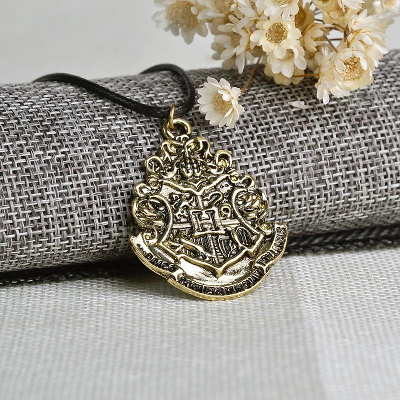 Hogwarts emblem H necklace leather cord statement Wholesale Bronze Vintage Old action Action Toy Figures