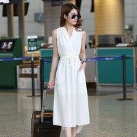 한국 새로운 여름 여성 패션 드레스 우아한 순수한 컬러 v 넥 민소매