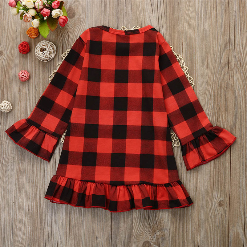 kawaii christmas plaid dress for toddler girls causal comfortable girls dress sweet soft dress conjunto menina 4OT1 (2)