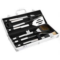 BBQ Grill Tools Set 6 Pieces Stainless Steel BBQ Utensils Luxury Presentation Storage Case Outdoor Barbecue
