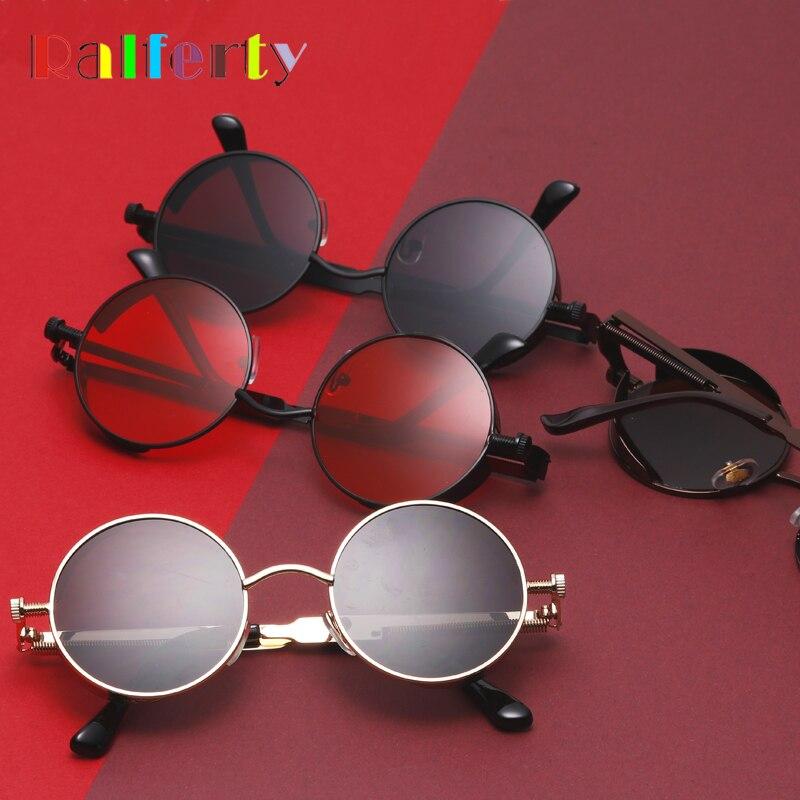 Ralferty Gothic Steampunk Sunglasses Women Men Vintage Retro Round Met