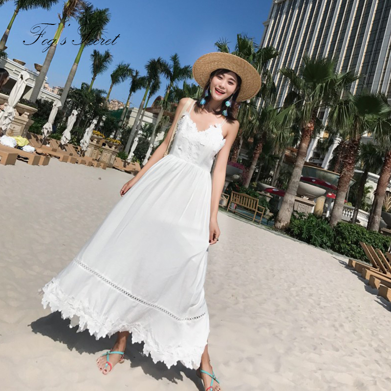 05fff170f7 Beach Long Dress For Women Sexy White bohemian Hollow out back Dresses  halter strap Thailand Bali Maldives seaside resort 2019-in Dresses from  Women's ...