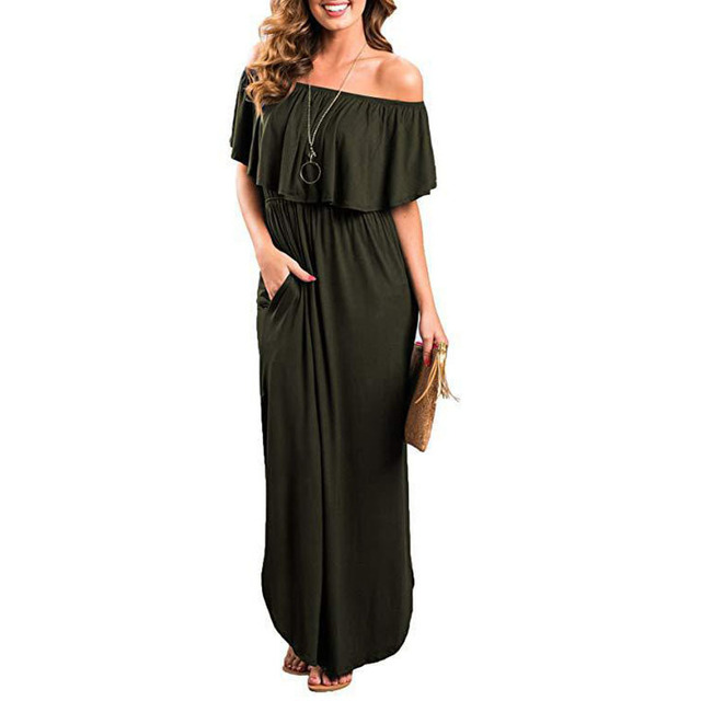 2f951cdd21 Ruffled Slash Neck Off Shoulder Double Slit Pocket Long Dress Women Robe  Summer Maxi Dress Boho Tighten Waist Dresses Vestidos