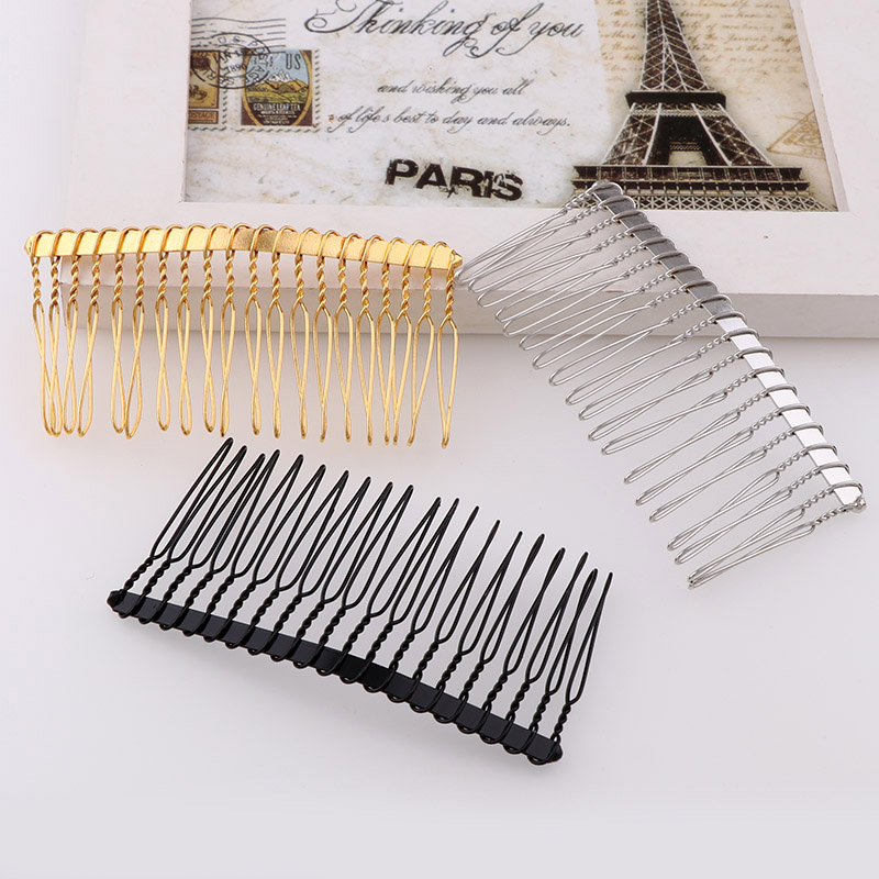 5PC Hand Made Metal Hair Comb 20 Teeth Wedding Bridal Diy Wire Comb Base 3 Colors Plated Women's Diy Hair Jewelry Accessories green sandalwood combed wooden head neck mammary gland meridian lymphatic massage comb wide teeth comb