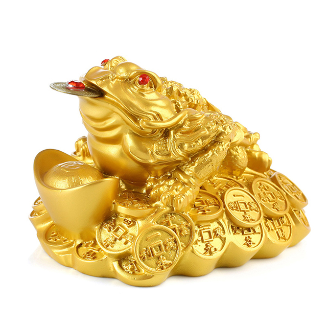 1PCS Lucky Gift Wealth Chinese Feng Shui Money Frog Toad Coin Ornaments For Frog Toad Coin Home Office Decoration Ornaments 4