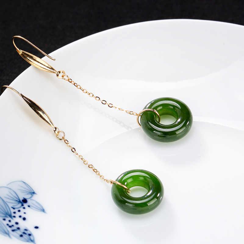 2018 nowy prawdziwe 18 K złote kolczyki dla kobiet naturalne Jasper długie kolczyki wiszące klejnot kamień Fine Jewelry dla biżuteria ślubna na prezent