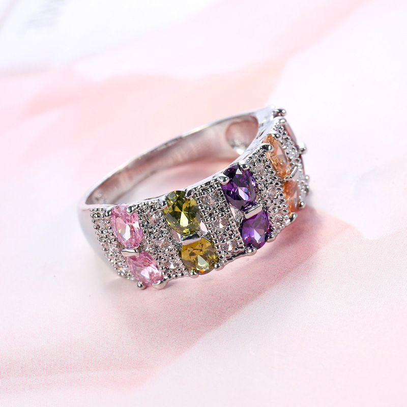 Wholesale Beautiful Simple Jewelry 8 Colors Crystal From Swarovskis Ring With Zircon Fit Women And Man Wedding Or Party