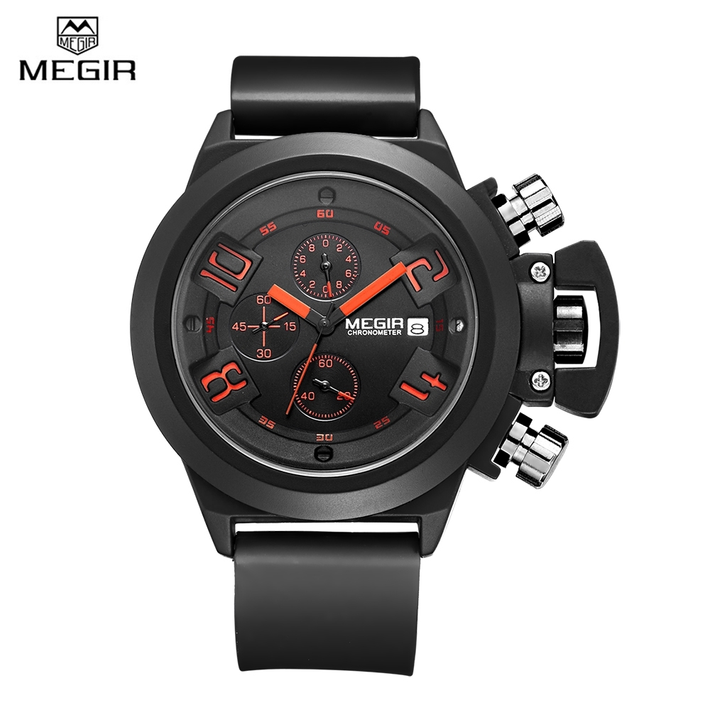 цена на 2018 MEGIR Men Watches Luxury Brand Top CHRONOGRAPH Watches Silicone Black Megir Quartz Clock Men Wrist Watch Man Relojes Hombre