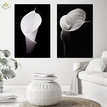 Nordic Poster Decoration Black Obsession Grayscale Tulip Wall Art Canvas and Print Scroll Painting