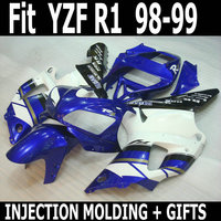 Customize free 100% fit injection motorcycle parts for YAMAHA blue white YZFR1 98 99 fairing kit YZF R1 1998 1999 body fairing