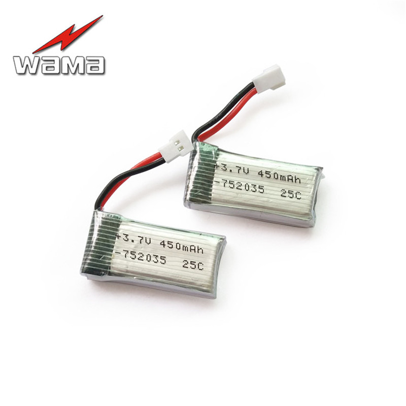 2x Wama 752035 <font><b>450mAh</b></font> Li-Polymer <font><b>3.7V</b></font> Rechargeable Batteries Replace for Hubsan h107d RC Plane Remote Control Aircraft Game Toys image