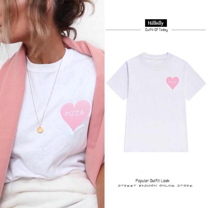 Hillbilly New Heart Pizza T-shirts Կանանց Նամակ Տպել - Կանացի հագուստ