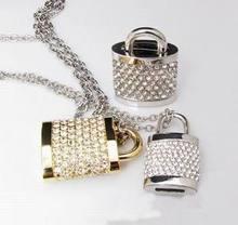 Diamond Jewelry Usb Pen Drive Lock Crystal 8gb 16gb 32gb Usb Flash Drive 64GB Memory Stick