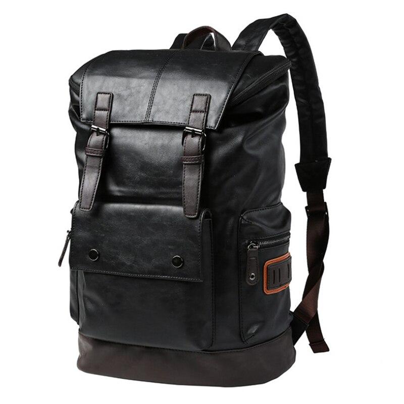 Grande capacité grand sac à dos de voyage pour homme sac à dos en cuir noir pour homme sac à dos pour ordinateur portable mochila masculina sac à dos Ba