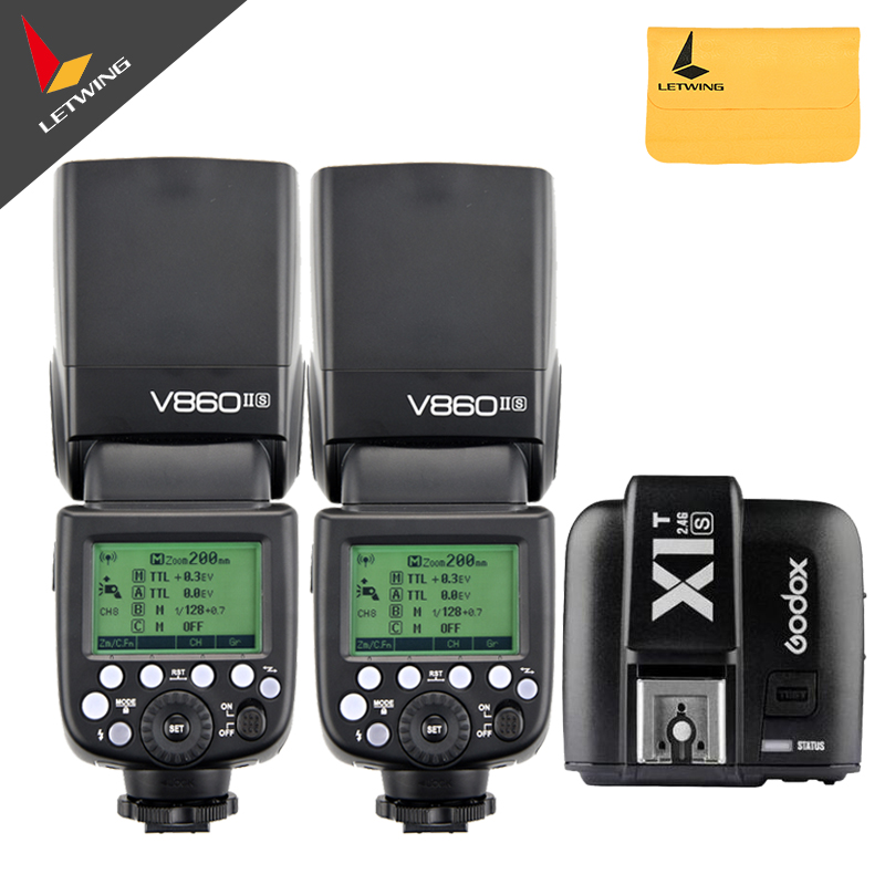 Free Shipping DHL! 2X Godox V860II-S TTL 2.4G GN60  Wireless Li-ion Flash Speedlite + X1T-S Transmitter Kit for Sony кровать надувная двуспальная intex со встроенным насосом 220в 64436