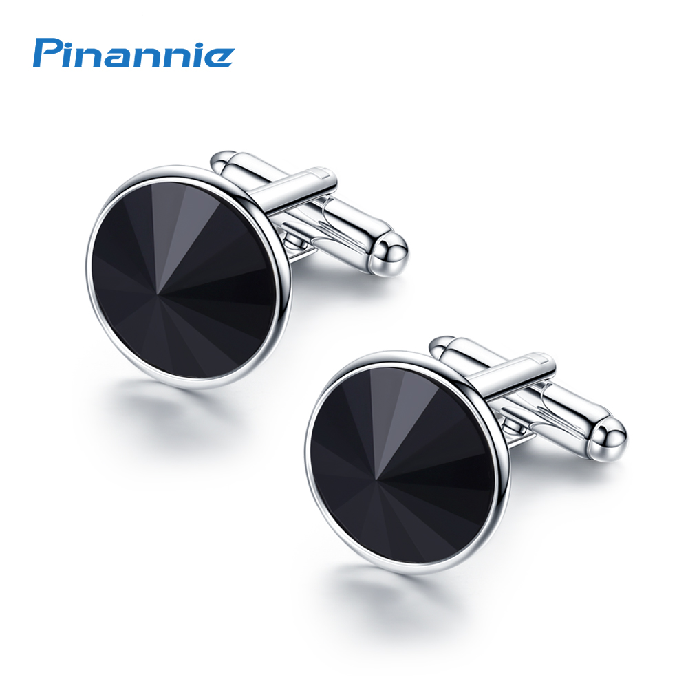 Genuine Silver Color Plated Cuff Links Fathers Day Gifts Austria Crystal Shirt Cufflinks for Mens