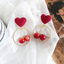Fashion Red-Heart Dangle Earrings Sweet Cherry Pendant Geometric For Women Statement Jewelry Accessories Gift