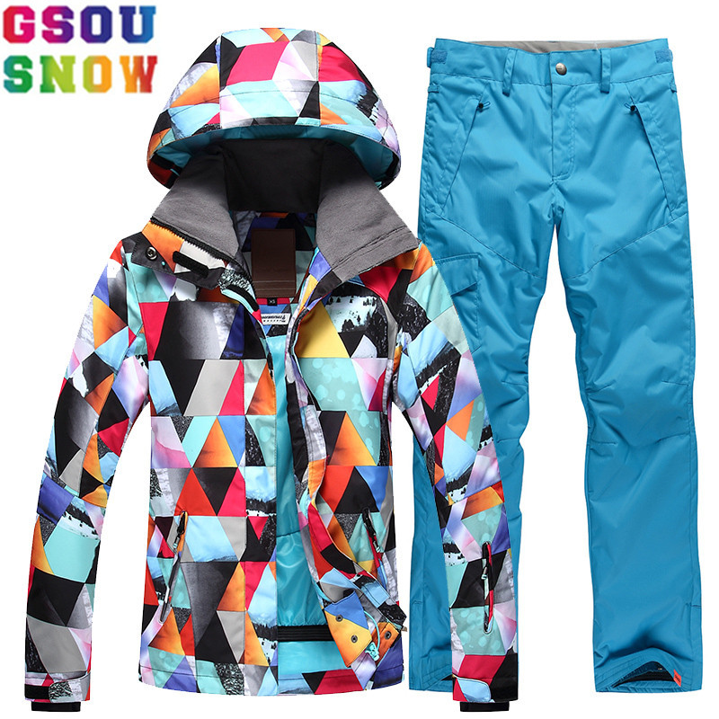 Dropwow GSOU SNOW Brand Ski Suit Women Ski Jacket Pants Winter Cheap Skiing  Suit Waterproof Female Snowboarding Coat Sport Snow Clothing 3f283f2cd