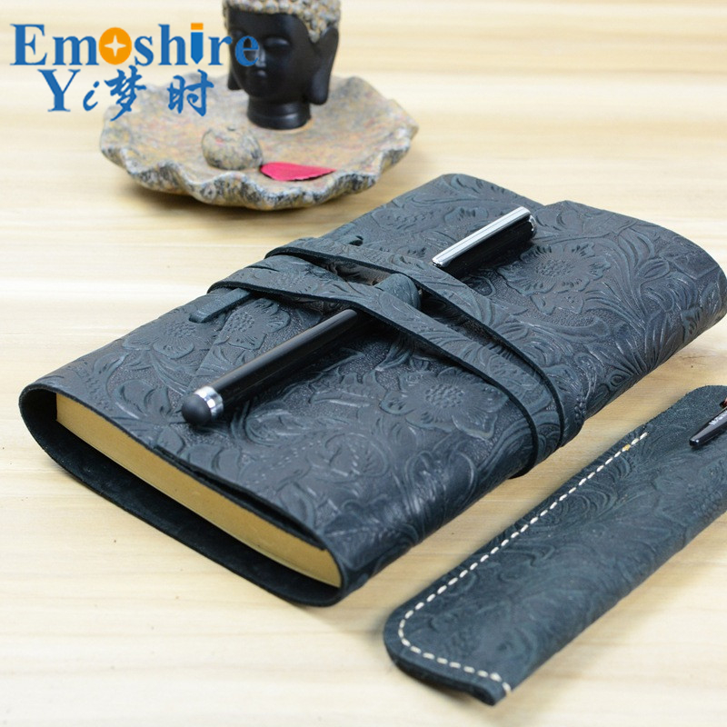 Emoshire Handmade DIY Carved Genuine Leather Notebook Laptop Leather Notepad Custom Vintage Classic Notepad N116 247 classic leather