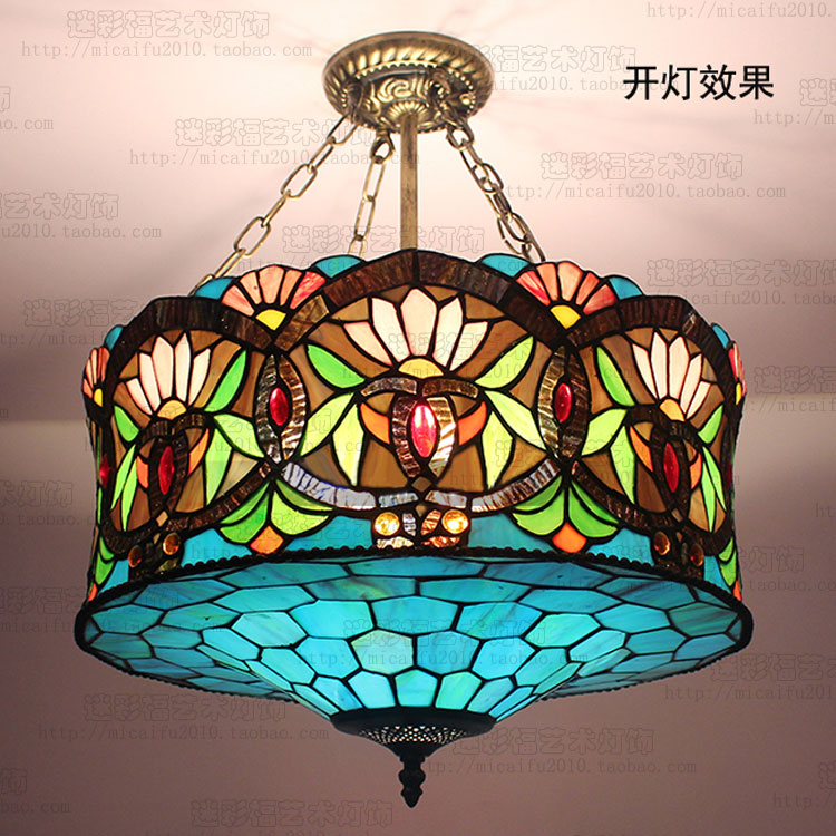 18inch Tiffany European Chandelier  Stained Glass Blue Danube Senior Club Villa Dining Room Restaurant Lamp