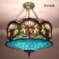18inch Tiffany European Chandelier stained glass blue Danube senior Club Villa dining room restaurant lamp