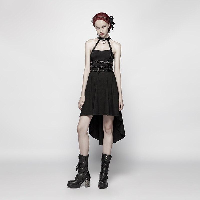 PUNK RAVE femmes Punk robe asymétrique haut-bas ourlet robe dos nu Punk Rock Streetwear mode Sexy robes de soirée