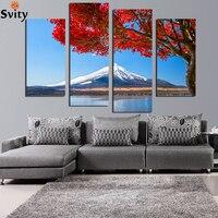 Kırmızı yapraklar karlı dağlar Manzara Boyama By Numbers DIY Dijital Yağlıboya Tuval Ev Dekor Duvar Boyama F18846
