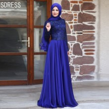 Long Sleeve Islamic Evening Dresses 2016 Lace Applique A Line Chiffon Muslim Vestidos De Fiesta Royal Blue Dress Party Gowns