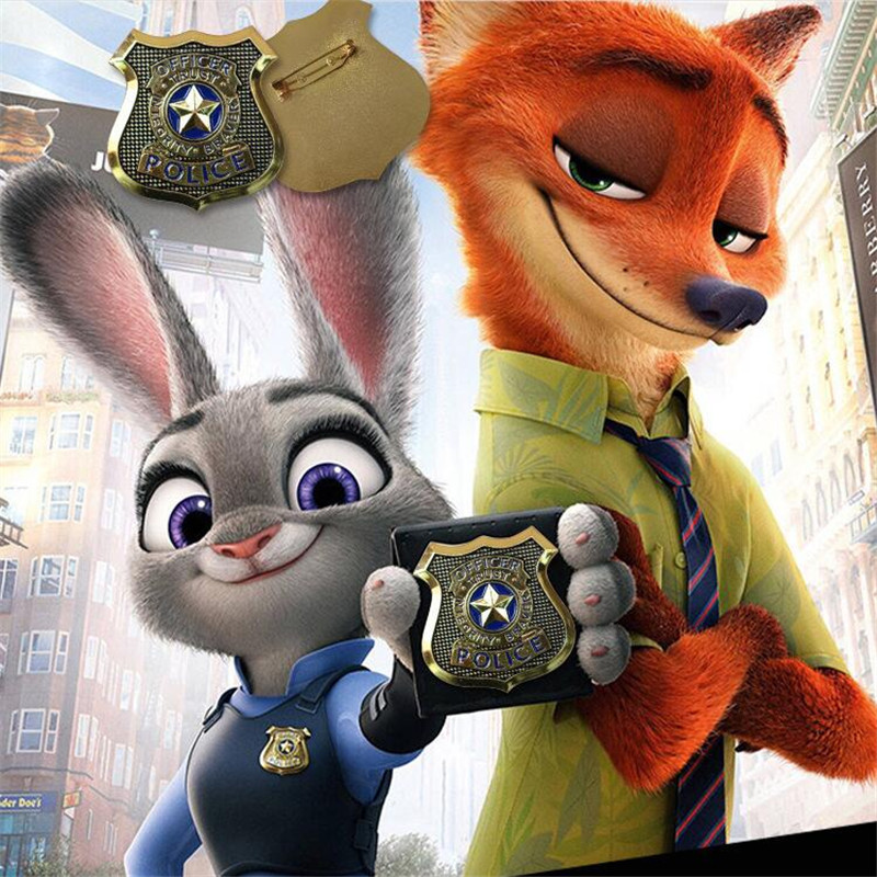 Cosplay Movie Zootopia Judy Hopps Badge Cosplay Police Badge Brooch Bunny Judy Badge Pins Jewelry Cosplay Pin Accessories