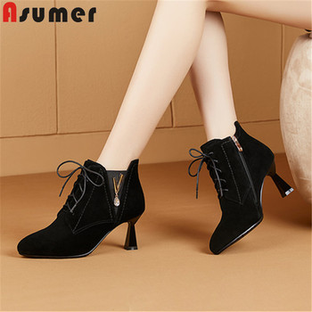 ASUMER 2019 new ankle boots for women round toe lace up suede leather shoes elegant prom dress shoes women boots big size 34-43