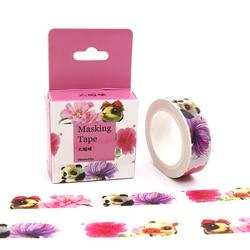 15mm * 10 m Box pakiet Kawaii Panda i kwiat taśmy Washi taśma maskująca dekoracyjne Scrapbooking klej naklejka do zrobienia w domu taśma z etykietami