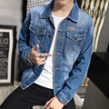 Free Shipping Men's Four Seasons Fashion Short Paragraph Slim Lapel Jacket  fashion Youth Spring And Autumn Denim Jacket  Male