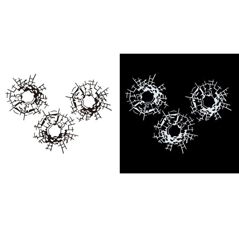 3 pçs/pçs/set buracos de bala vidro arte adesivos de carro carro-estilo decalque 18cm * 13.5cm