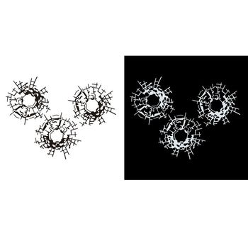 3 unids/set agujeros de bala adhesivos artísticos para coche pegatina de diseño de coche 18cm * 13,5 cm
