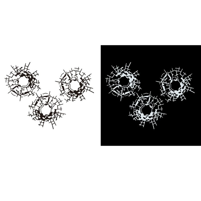 3Pcs/Set Bullet Holes Glass Art Car Stickers Car-styling Decal 18cm*13.5cm