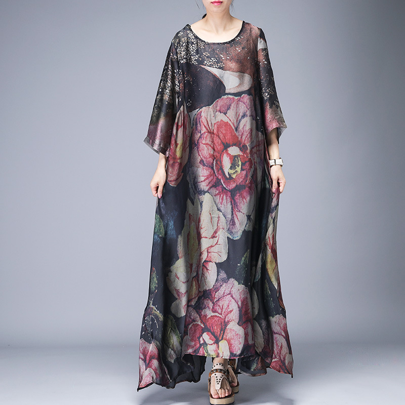 Irrégulière imprimé femmes robe longue lâche grande taille robes en soie vintage élégant robe décontractée mode robe de soirée vêtements d'été