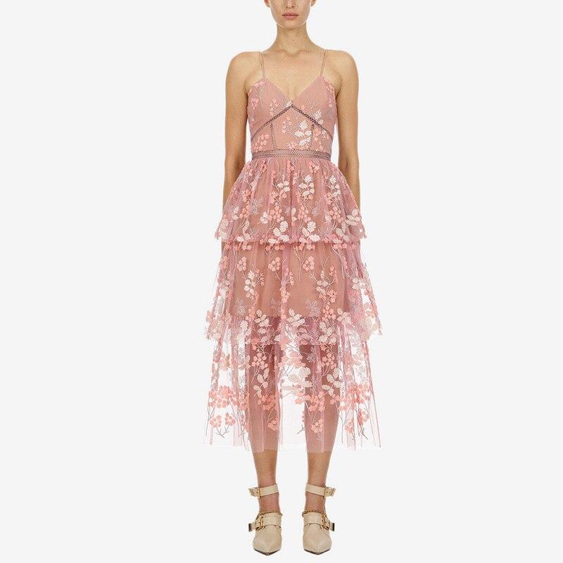 HAMALIEL Runway Self Portrait Long Summer Dress Women Mesh Floral Embroidery Layers Ruffles Pink Dress Sexy V Neck Halter Dress