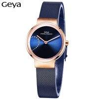 Geya Japanese MiyotaGL20 Movement Fashion Casual Lady Quartz Watch Unique Stylish Blue Steel Female Clock Dress Women Wristwatch