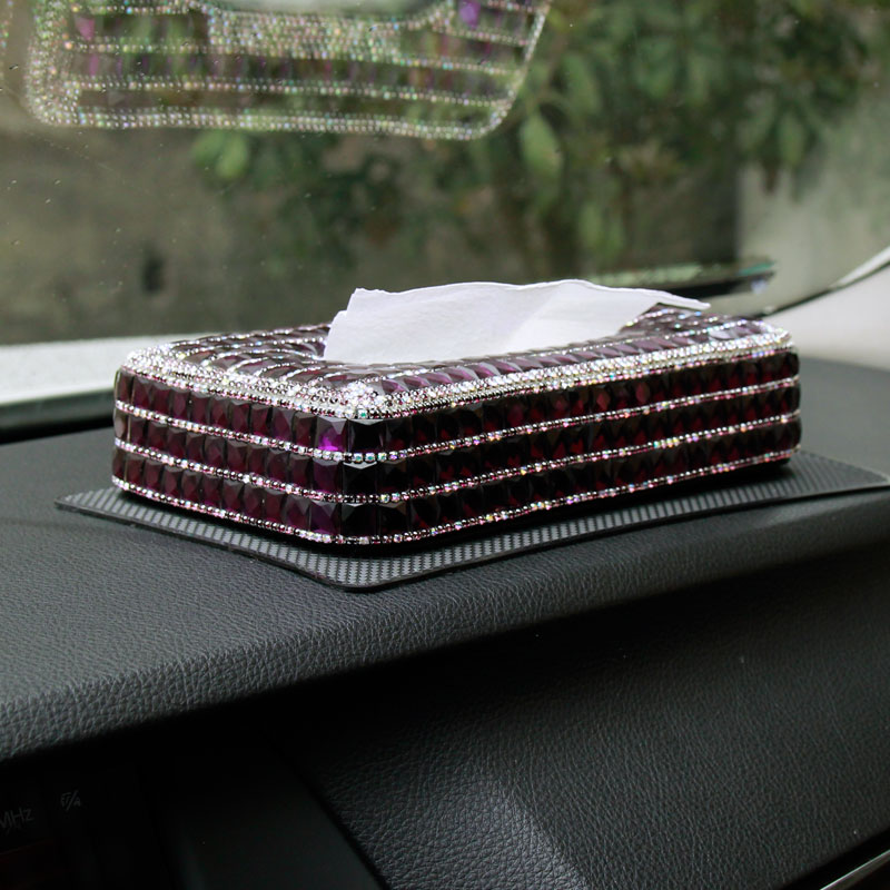 LUNASBORE High Grade Hand Made Car Diamante Diamond Crystal Tissue Paper Box Auto Holder Purple opel cx-5 golf 4 WOMAN gift